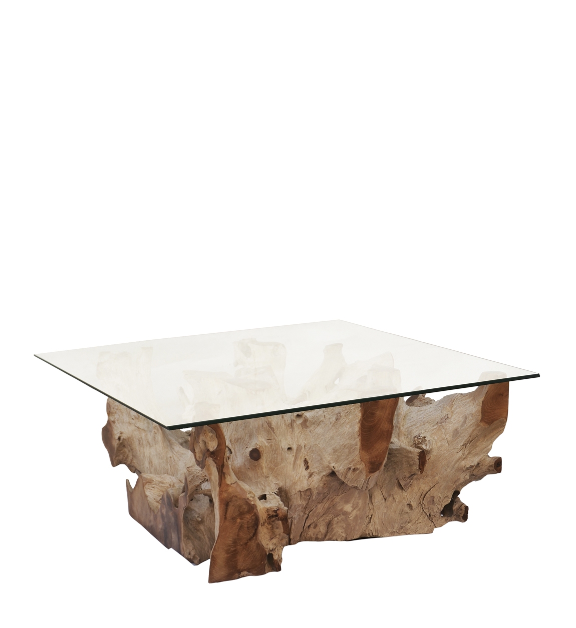 Coffee Table Bleached Teak Root With Glass Moycor