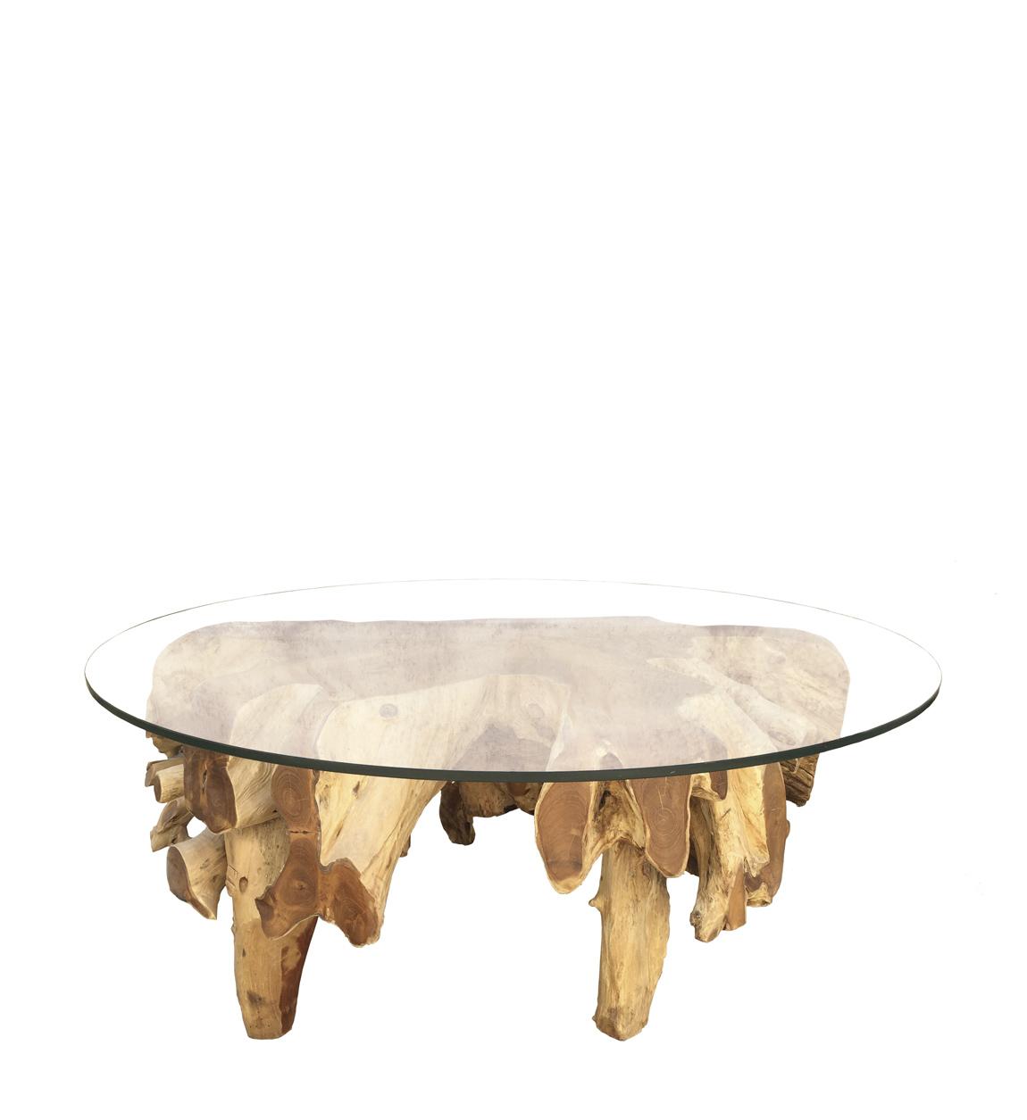 Polished Teak Root Coffee Table With Glass Moycor